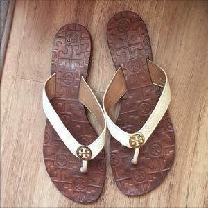 351211b9921a3 Tory Burch Cream   Brown Flip Flops Sandals